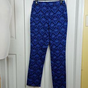 4/$25 Isaac Mizrahi Live! blue floral skinny pants